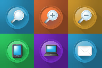 Set of Icons on Buttons on Color Background . Fully Scalable Vector Elements
