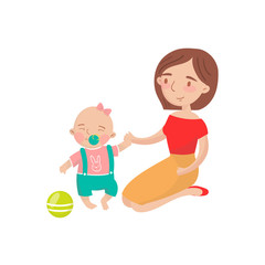 Mom playing ball with her little baby son cartoon vector Illustration