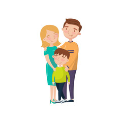 Young happy couple posing with their son cartoon vector Illustration