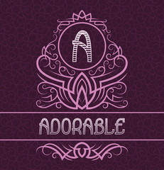 Vintage label design template for adorable product. Vector monogram with text on patterned background.