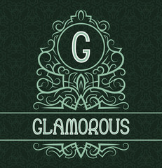 Vintage label design template for glamorous product. Vector monogram with text on patterned background.