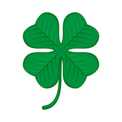 Green shamrock clover icon. Irish symbol of luck.