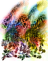 leopard skin and flower background