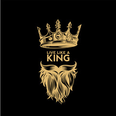 golden logo of crown,mustache and beard vector illustration