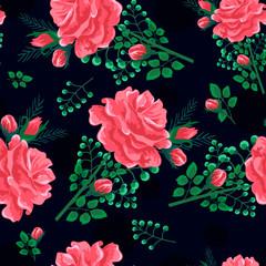 rose seamless pattern dark-01