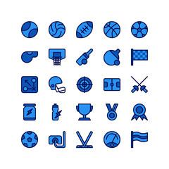 Sports Icon Set Collection Blue Theme