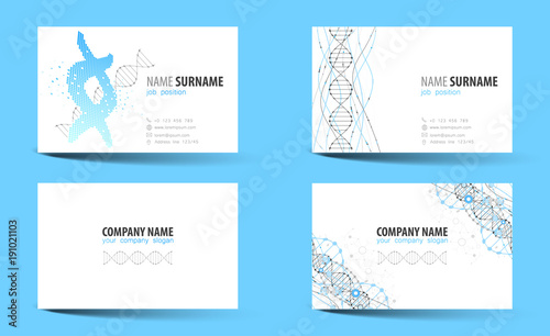 creative double sided business card template dna theme stock