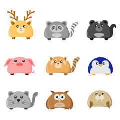 Cute Animal Character Illustration Set