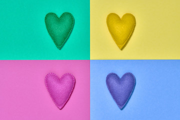 Colorful Hearts. Valentines Day, Love. Handmade hearts set. Trendy fashion Style. Bright Love...
