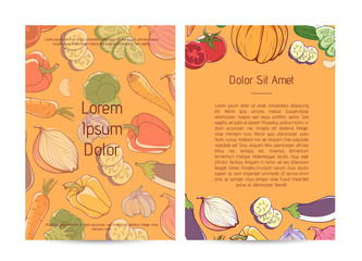 Natural organic nutrition poster with fresh vegetables. Eco farm products advertising, vegan cafe menu design. Carrot, pumpkin, cucumber, onion, pepper, tomato, eggplant, garlic vector illustration