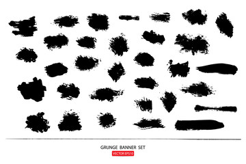 set of hand drawn painted scratched vector Illustrations template of grunge banners abstract background brush texture for promotion sale. isolated on white