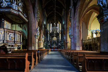 Interior of the Saint Stanislaus and Saint Wenceslaus Cathedral in Swidnica, Poland