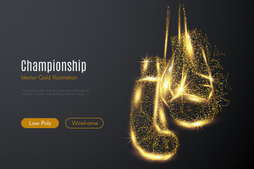 Low poly illustration of the boxing gloves with a golden dust effect. Sparkle stardust. Glittering vector with gold particles on dark background. Polygonal wireframe from dots and lines.