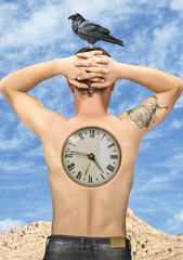 Man with clock in back