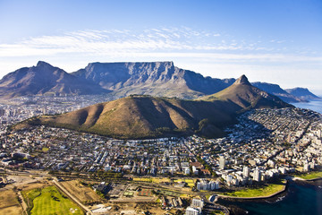 Aerial view of Cape Town, with Green Point and Sea Point, Table Mountain, Signal Hill, Lion's Head, Devil's Peak, South Africa