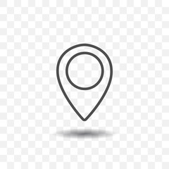 Outlined map location pointer icon on transparent background. Map pin for target or destination.