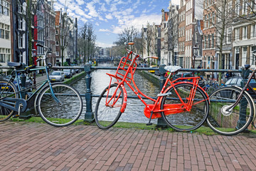 Bikes on the bridge in Amsterdam the Netherlands