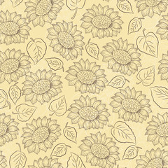 Sunflower line vector and leaves seamless pattern on light yellow background, country style