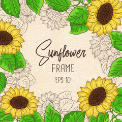 Sunflower vector with green leaves frame for greeting card banners and labels with place for text