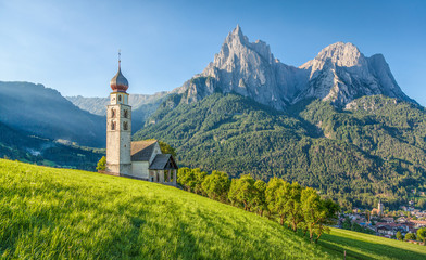 Alpine scenery with church in the Dolomites, Seis am Schlern, South Tyrol, Italy Wall mural