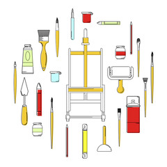 Art supplies colored line icons set circle concept vector illustration
