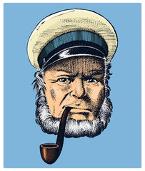 sea captain, marine old sailor with pipe or bluejacket, seaman with beard or men seafarer. travel by ship or boat. engraved hand drawn in old boho sketch.