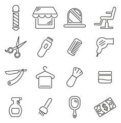 Barber Shop & Barber Equipment Icons Thin Line Vector Illustration Set