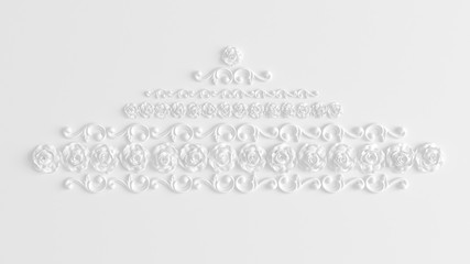 Decoration element, wall concept stucco, interior architecture pattern. 3d illustration, 3d rendering.