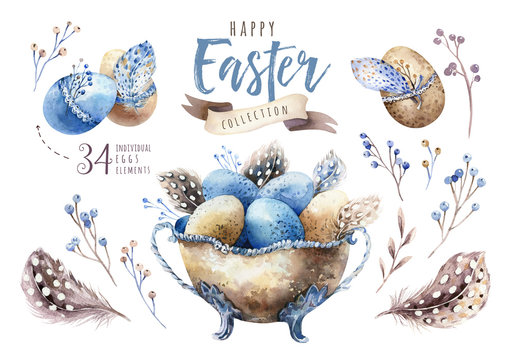 Watercolor happy easter vase illustration with flowers, feathers and eggs. Spring holiday decoration. April boho design.