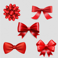 Red Ribbon Bow Set Isolated
