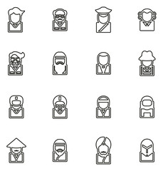 Avatar or Profile Picture Icons Set 3 Thin Line Vector Illustration Set