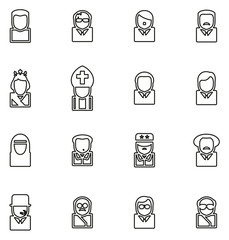Avatar Icons Historical Figures Set 2 Thin Line Vector Illustration Set