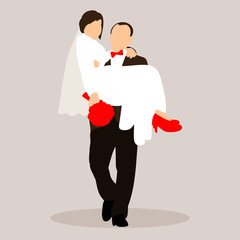 vector isolated groom and bride