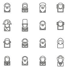 Avatar Icons Historical Figures Set 1 Thin Line Vector Illustration Set