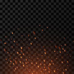Fire sparks flying up. Burning glowing particles on a transparent background.