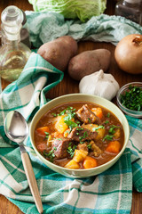 Irish stew made with beef, potatoes, carrots and herbs