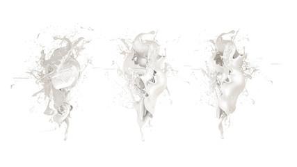 Splash of milk on a white background isolated. 3d illustration, 3d rendering.