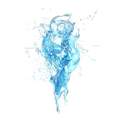 Splash of water on a white background isolated. 3d illustration, 3d rendering.