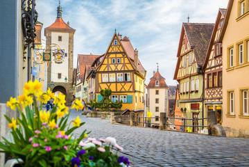 Medieval town of Rothenburg ob der Tauber in summer, Bavaria, Germany