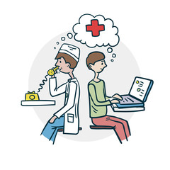 The patient consults a doctor icon