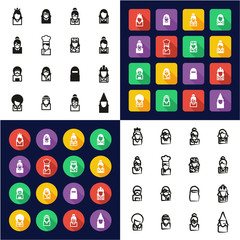 Avatar All in One Icons Black & White Color Flat Design Freehand Set 6