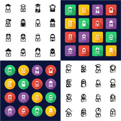 Avatar All in One Icons Black & White Color Flat Design Freehand Set 3