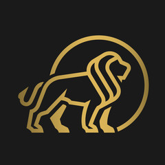 Lion logo, emblem on a dark background.