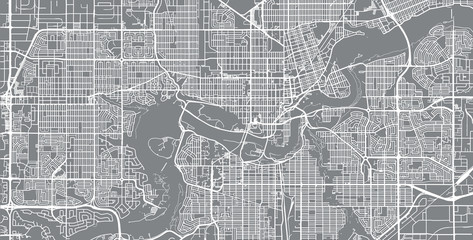 Urban vector city map of Edmonton, Canada