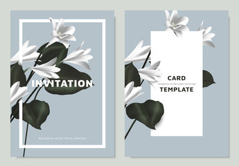 White rain lilies and Philodendron silk leaves with rectangle  frame on blue background, invitation card template design