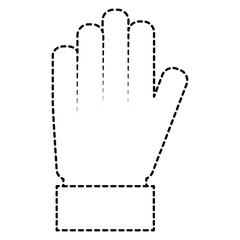 hand palm showing five finger stop vector illustration sticker style image
