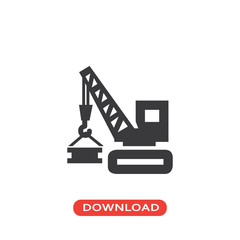 Construction tool vehicle with crane lifting materials icon
