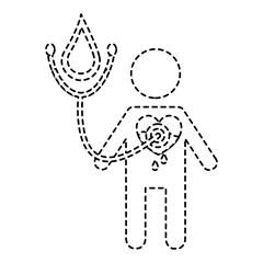 man stethoscope heart blood medical hemophilia vector illustration sticker style image