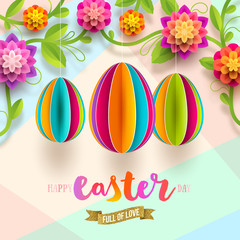 Easter greeting card - colorful paper eggs and flowers. Vector illustration.