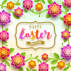 Easter greeting card - holiday greeting in glitter gold frame and paper flowers background. vector illustration.